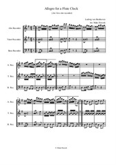 Allegro for a Flute Clock. L. van Beethoven (Arranged for a trio of recorders ATB)